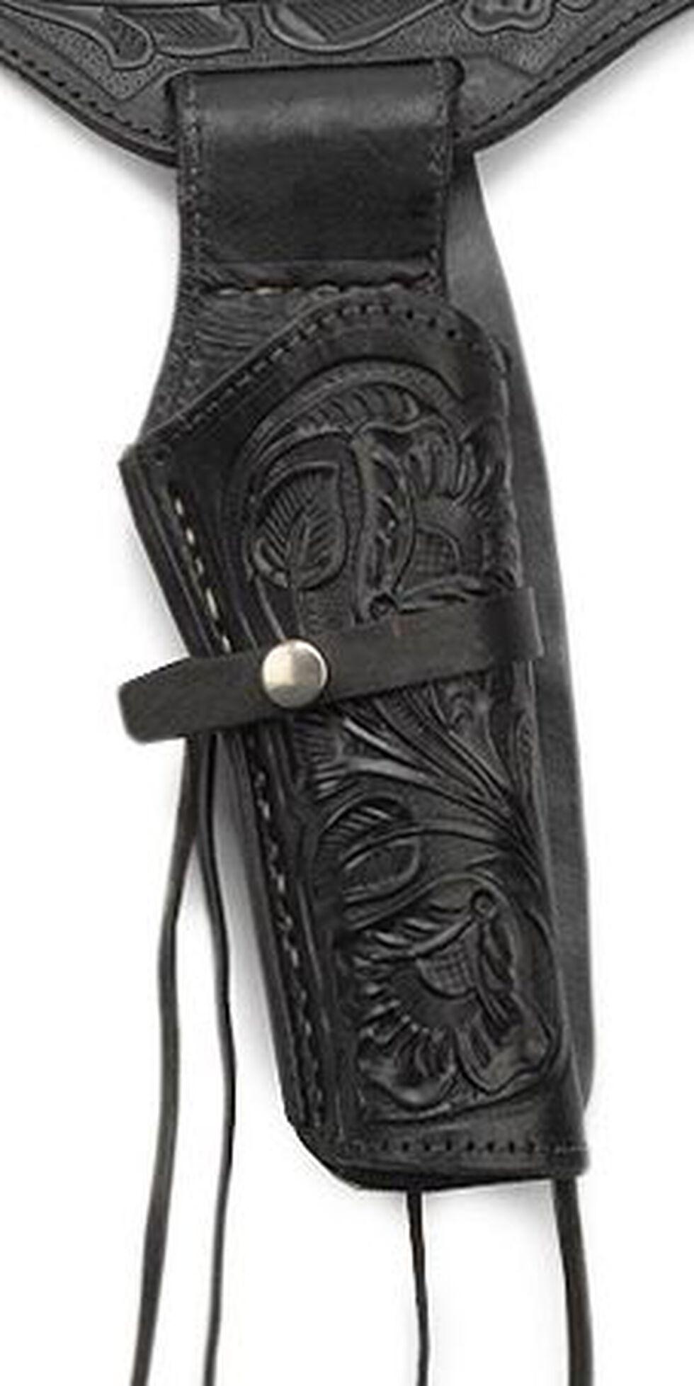 Western Express .38 Caliber Hand Tooled Leather Single-Gun Belt & Holster, Black, hi-res