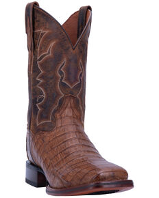 Dan Post Men's Kingsly Chocolate Caiman Western Boots - Wide Square Toe, Chocolate, hi-res