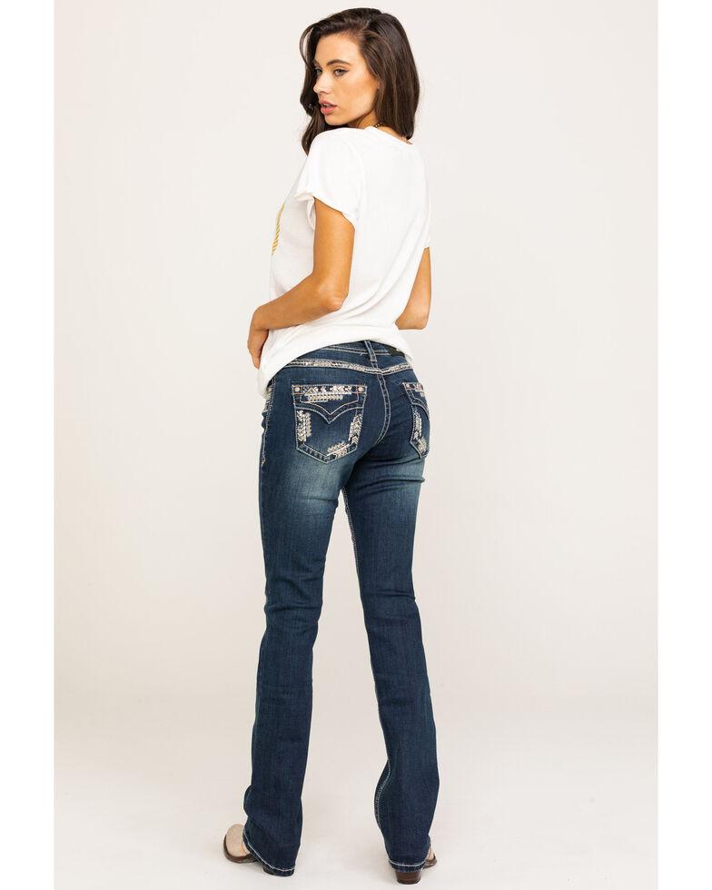 Grace in LA Women's Dark Vintage Arrow Border Faux Flap Jeans, Blue, hi-res
