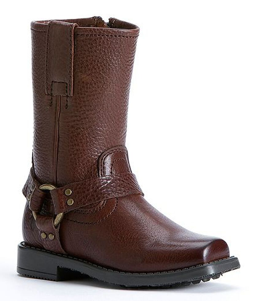 Frye Girls' Harness Pull-on Boots, Dark Brown, hi-res