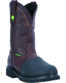 John Deere Men's Pull-On Leather Work Boots - Steel Toe, Chocolate, hi-res