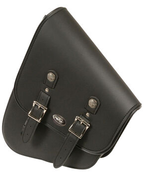 Milwaukee Leather Right Side Tall Slanted Swing Arm Bag, Black, hi-res