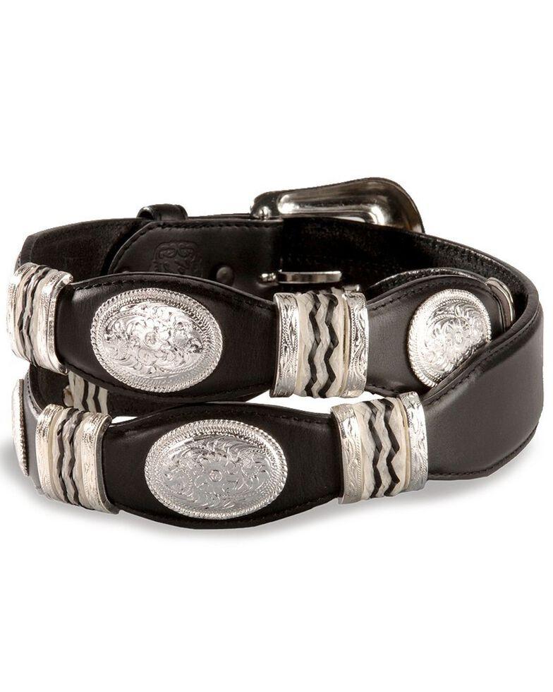 Tony Lama Scalloped Leather Belt, Black, hi-res