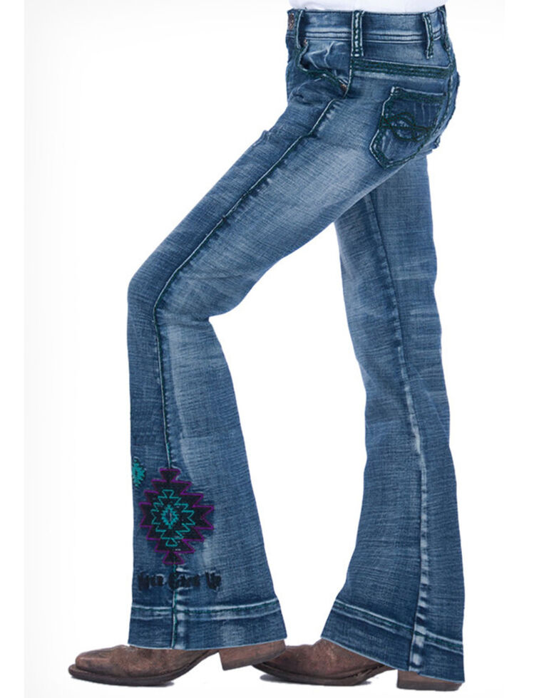 Cowgirl Tuff Girls' Turquoise Spirit Trouser, Blue, hi-res