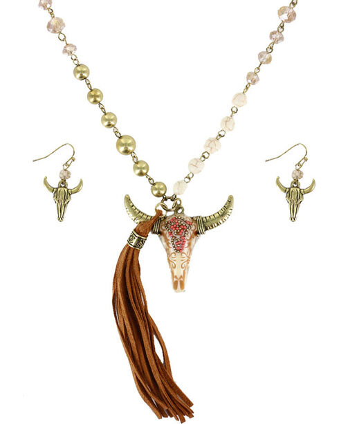Shyanne Women's Longhorn Skull Jewelry Set, Natural, hi-res