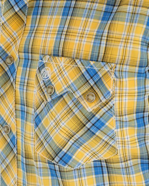 Wrangler Men's Yellow Retro Plaid Sawtooth Pocket Shirt , Yellow, hi-res