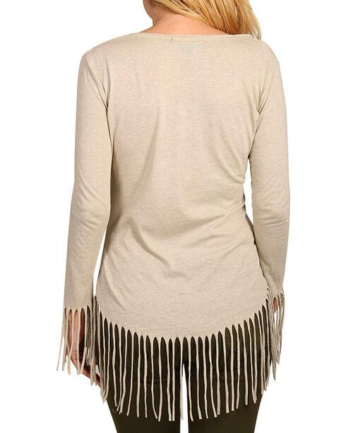 Rock & Roll Cowgirl Women's Eagle & Fringe Long Sleeve Shirt, Natural, hi-res