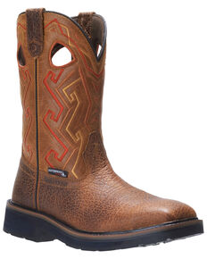 Wolverine Men's Rancher Aztec Western Work Boots - Steel Toe, Tan, hi-res