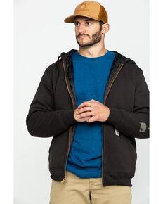 Carhartt Men's Midweight Hooded Zip-Front Work Sweatshirt - Tall , Dark Brown, hi-res