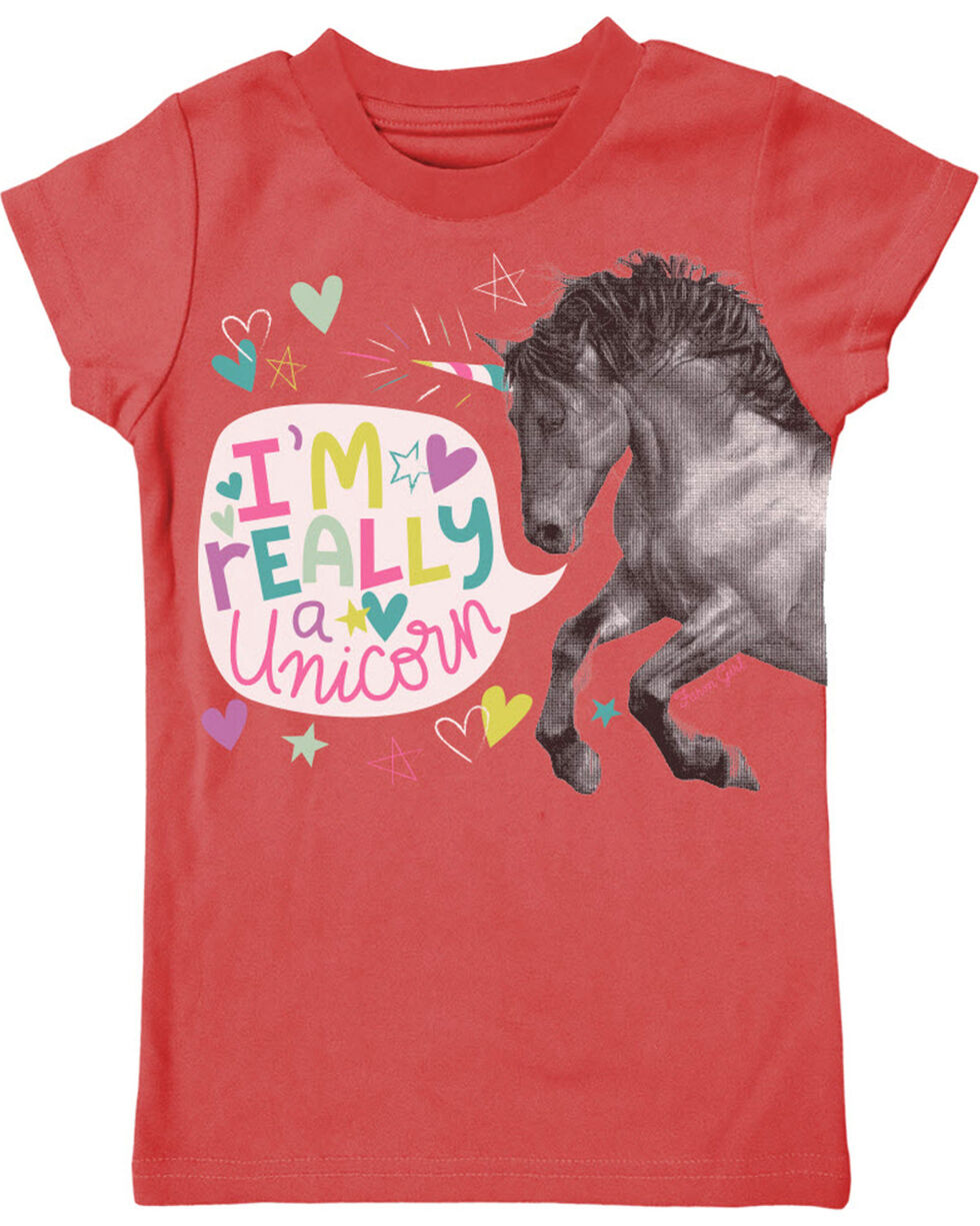 Farm Girl Girls' I'm Really A Unicorn Tee (4-6X), Coral, hi-res
