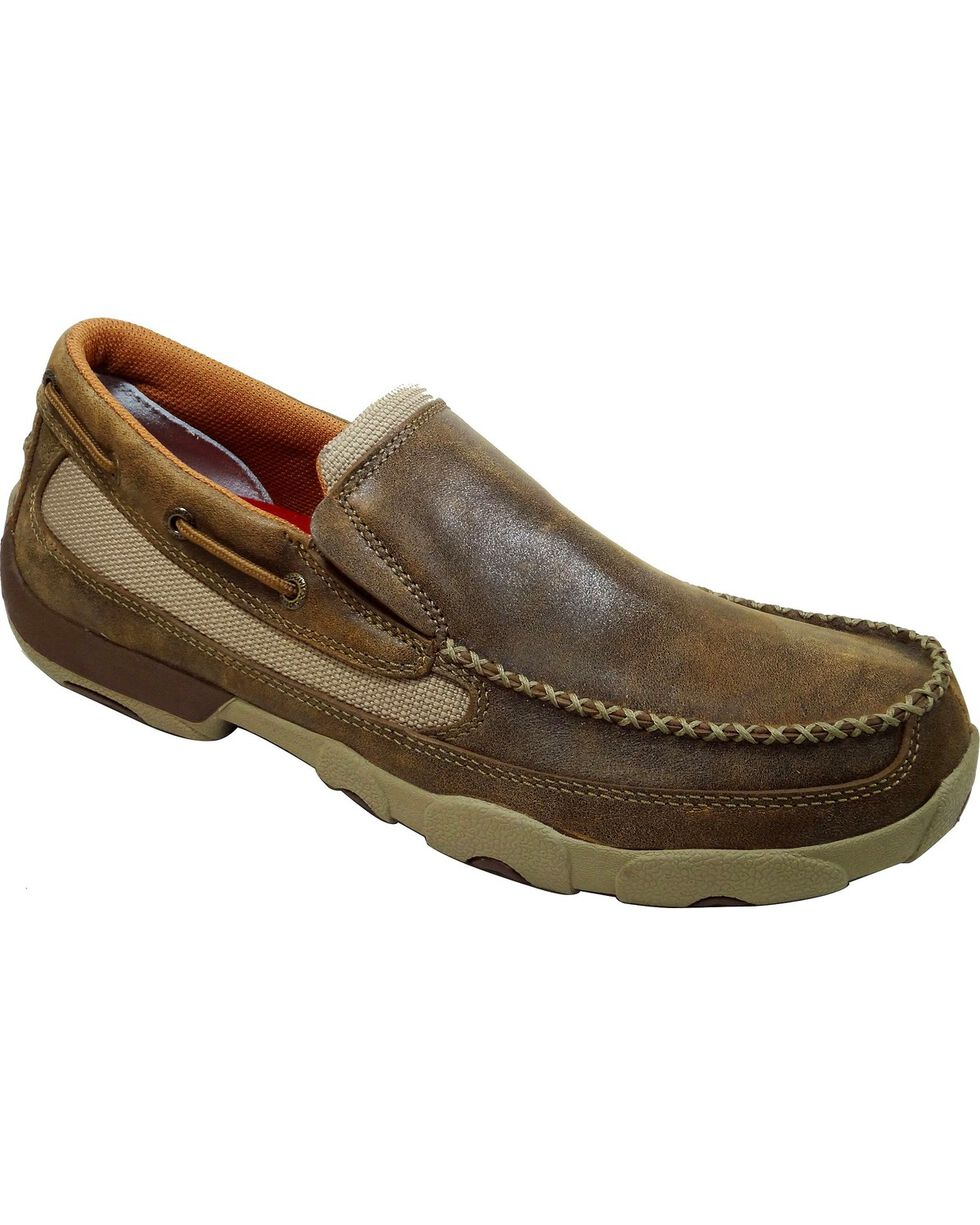 Twisted X Driving Slip-On Moccasin Shoes - Moc Toe, Brown, hi-res