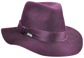 Betmar Women's Cranberry Izette II Wide Brim Fedora, Red, hi-res