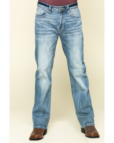 Rock & Roll Cowboy Men's Double Barrel Light Stretch Relaxed Straight Jeans , Blue, hi-res