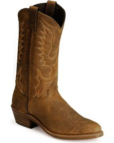 Abilene Men's Bison Leather Cowboy Boots - Medium Toe, Tan, hi-res