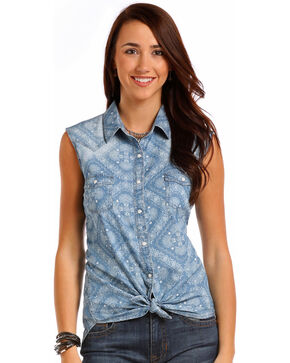 Panhandle Women's Bandana Print Sleeveless Snap Shirt, Blue, hi-res