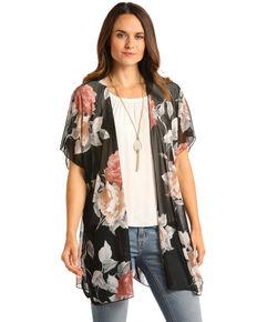 f1dea9fd1ac4e White Label by Panhandle Womens Black Floral Mesh Kimono