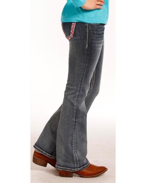 Rock & Roll Cowgirl Girls' &7-14) Pink & Ivory Stitch Jeans - Boot Cut , Indigo, hi-res
