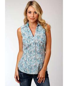 Amarillo Women's Desert Sky Blue Paisley Sleeveless Western Shirt, Blue, hi-res