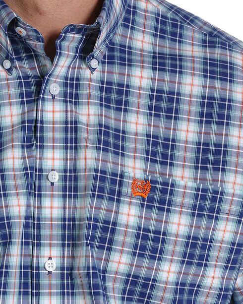 Cinch Men's Navy Plaid Long Sleeve Button Down Shirt, Navy, hi-res
