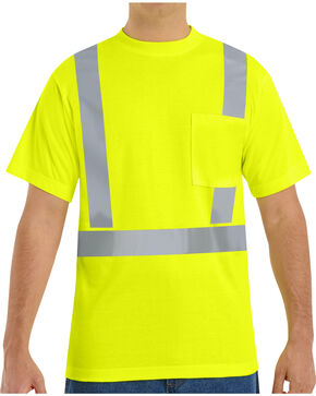 Red Kap Men's Hi-Visibility Short Sleeve Shirt , Yellow, hi-res