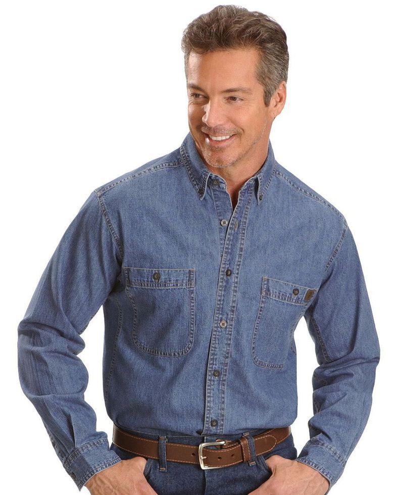 Wrangler Riggs Men's Denim Long Sleeve Work Shirt - Big & Tall , Antique, hi-res