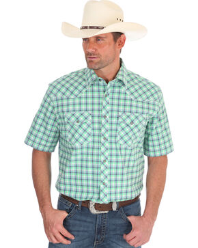 Wrangler Men's Green Plaid 20X Competition Advanced Comfort Shirt - Tall, Green, hi-res