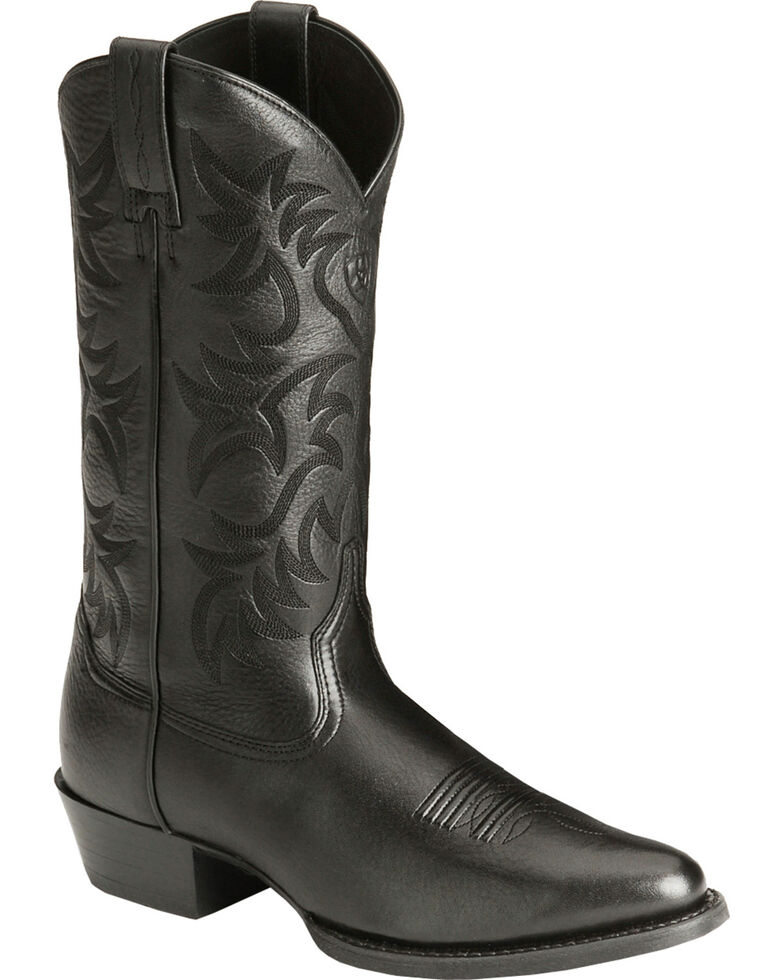 Ariat Heritage Deertan Cowboy Boots - Medium Toe, Black, hi-res