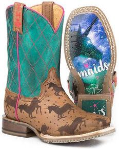 Tin Haul Girls' Magic Unicorns Western Boots - Square Toe, Tan, hi-res
