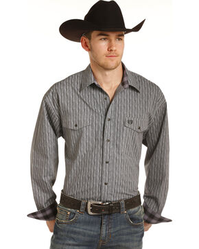 Panhandle Men's Grey Peached Poplin Print Western Shirt , Grey, hi-res