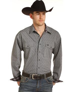 Panhandle Men's Grey Peached Print Western Shirt , Grey, hi-res