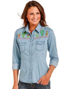 Panhandle Women's Blue Cactus Embroidery Shirt , Indigo, hi-res
