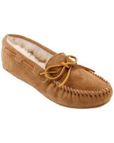 Minnetonka Women's Sheepskin Softsole Moccasins, Tan, hi-res