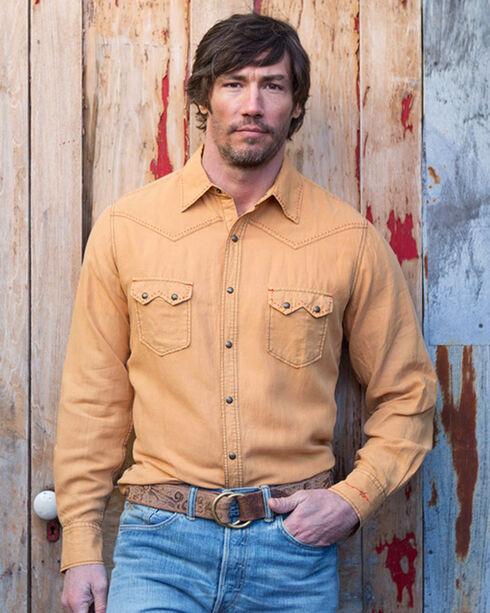 Ryan Michael Men's Sunset Saw Tooth Pick Stitch Shirt , Yellow, hi-res
