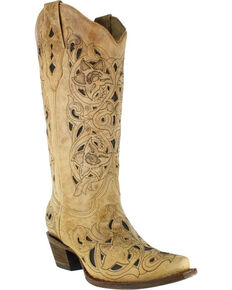 Corral Women's Inlay Western Boots - Snip Toe , No Color, hi-res
