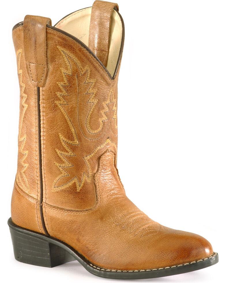 Old West Boys' Corona Calfskin Cowboy Boots - Round Toe, Tan, hi-res