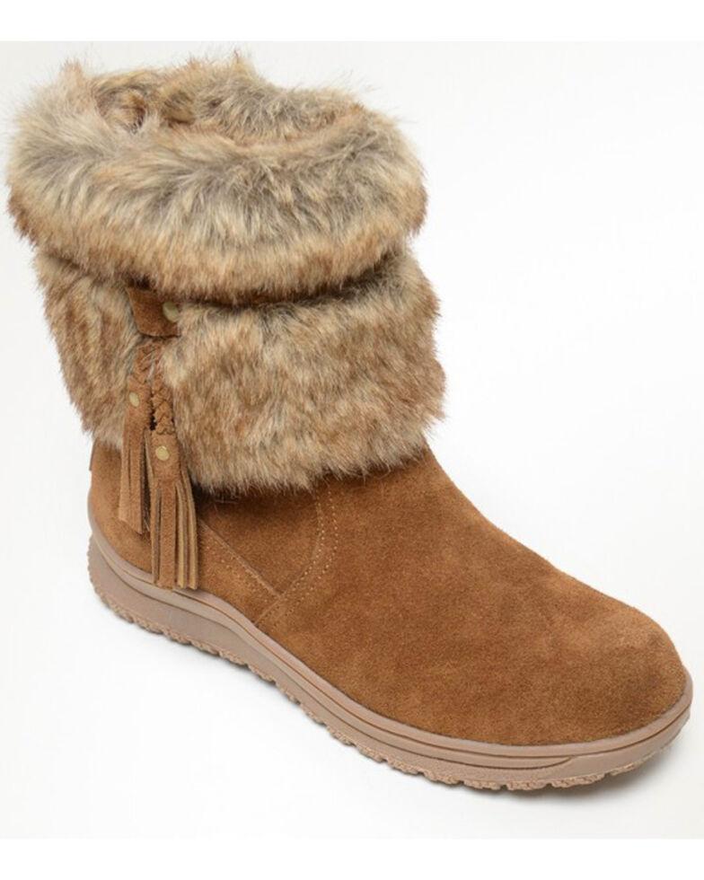Minnetonka Women's Everett Suede Fur Boots - Round Toe, Brown, hi-res