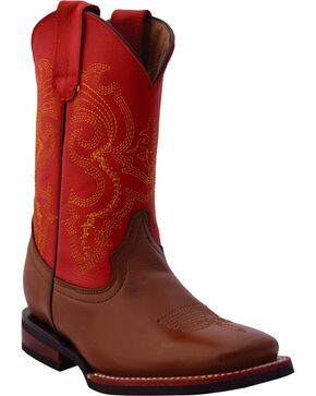 Ferrini Boys' Red/Brown Cowhide Cowboy Boots - Square Toe, Brown, hi-res