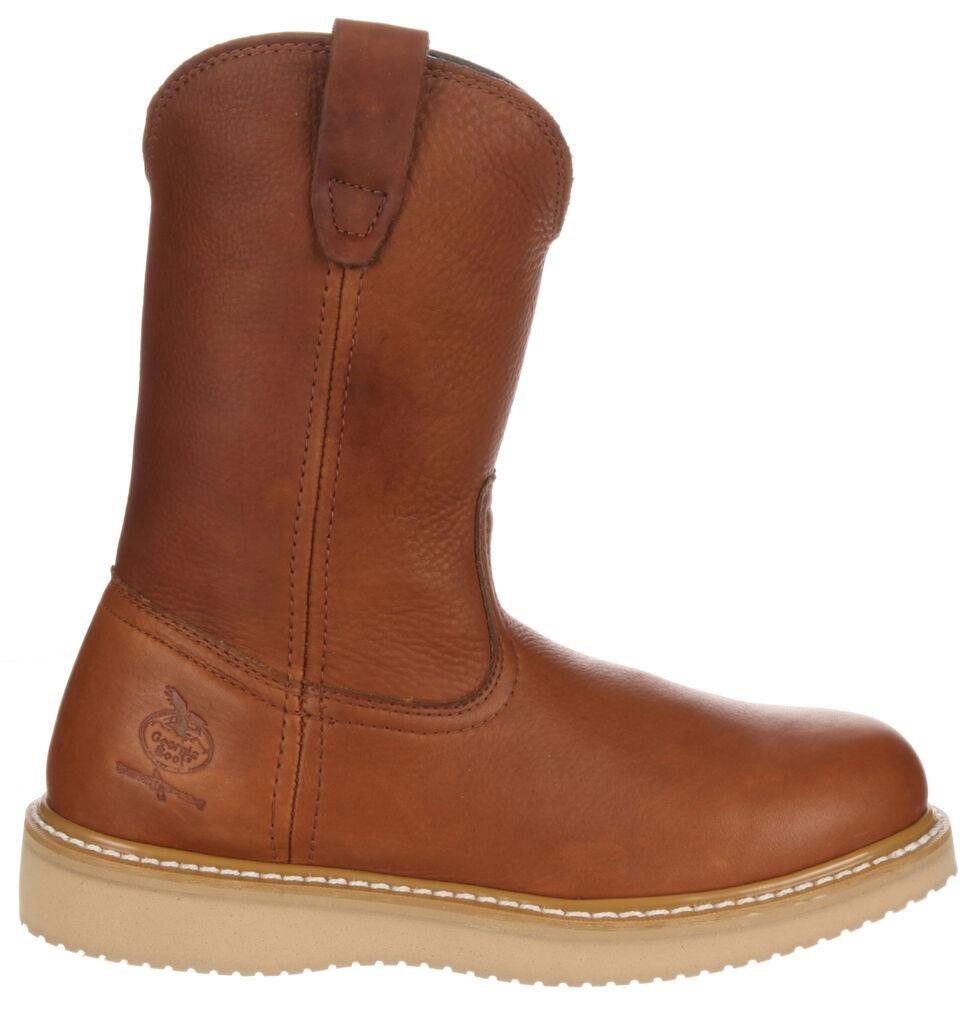 Georgia Wellington Wedge Work Boots - Steel Toe, Brown, hi-res