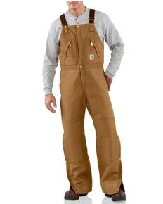 Carhartt Men's Brown Zip-to-Waist Bib Work Overalls - Big , Brown, hi-res