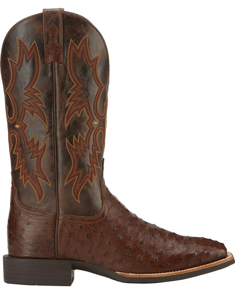 Ariat Quantum Classic Full Quill Ostrich Cowboy Boots - Square Toe, Antique Tobacco, hi-res