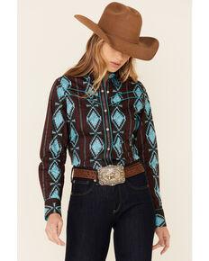 Rock & Roll Denim Women's Brown & Turquoise Aztec Print Long Sleeve Snap Western Core Shirt  , Brown, hi-res