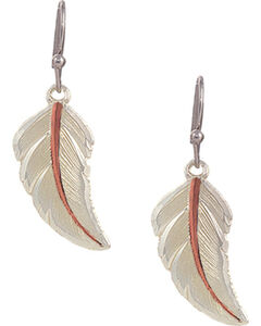 "Montana Silversmiths ""No Dream is Too Small"" Two Tone Feather Earrings, Silver, hi-res"