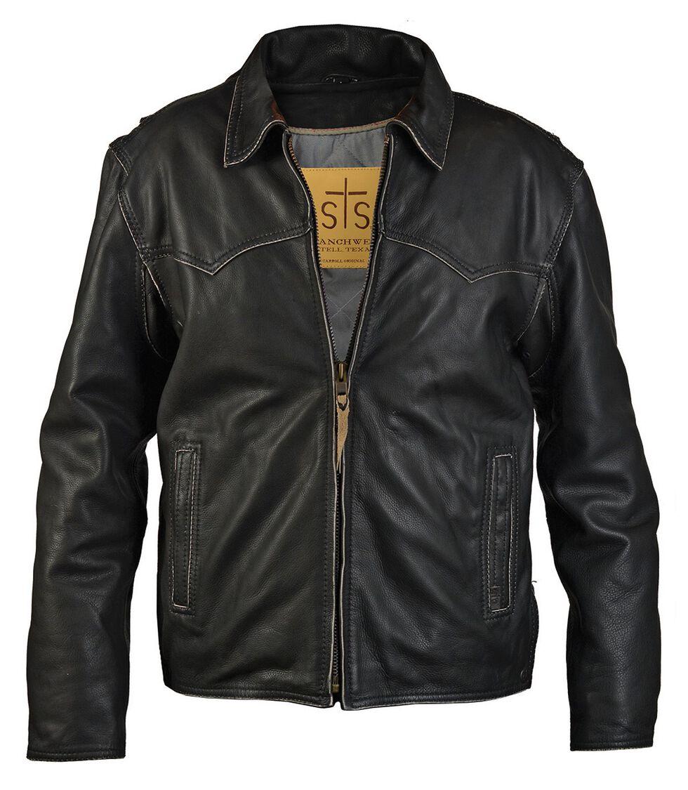 STS Ranchwear Men's Vegas Black Leather Jacket - Big & Tall - 4XL, Black, hi-res