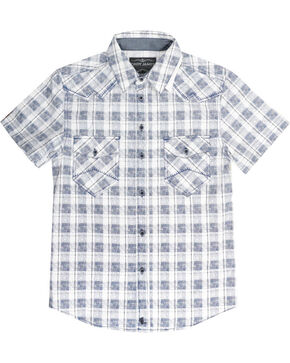 Cody James Men's Button Up Plaid Short Sleeve Shirt, White, hi-res