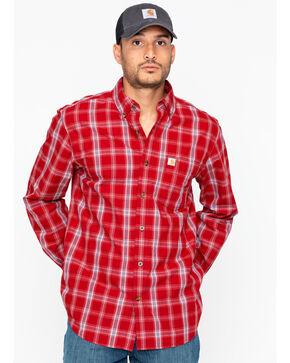 Carharrt Men's Essential Plaid BDC Work Shirt, Red, hi-res