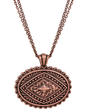 Rock 47 by Montana Silversmiths Points of Aztec Copper-Tone Pyramid Necklace, Copper, hi-res