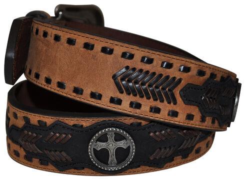 G Bar D Men's Brown Cross Concho Belt, Brown, hi-res