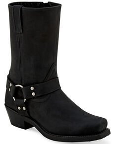 Old West Women's Black Harness Moto Boots - Square toe, Black, hi-res