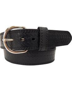 G-D Men's Top Grain Leather Belt with Embossed Weave Design , Black, hi-res