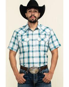 Cody James Men's Duck Spinner Plaid Short Sleeve Western Shirt , White, hi-res